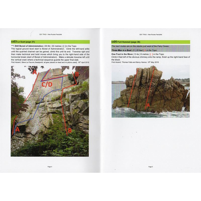 GSY Trad - New Routes Pamphlet pages