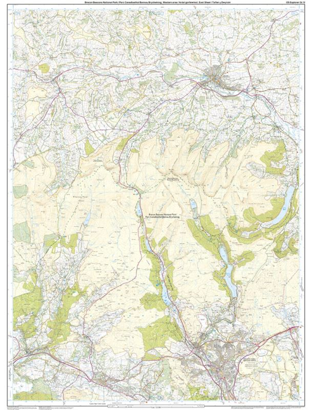 OS OL/Explorer 12 Paper - Brecon Beacons Western Area east sheet