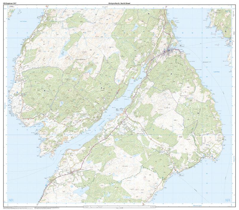 OS Explorer 357 Paper - Kintyre North south sheet
