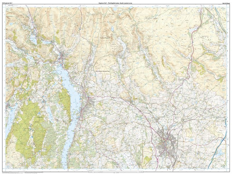 OS OL/Explorer 7 The English Lakes South-Eastern Area north sheet