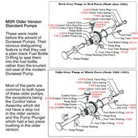 MSR Old Standard Fuel Pump diagrams