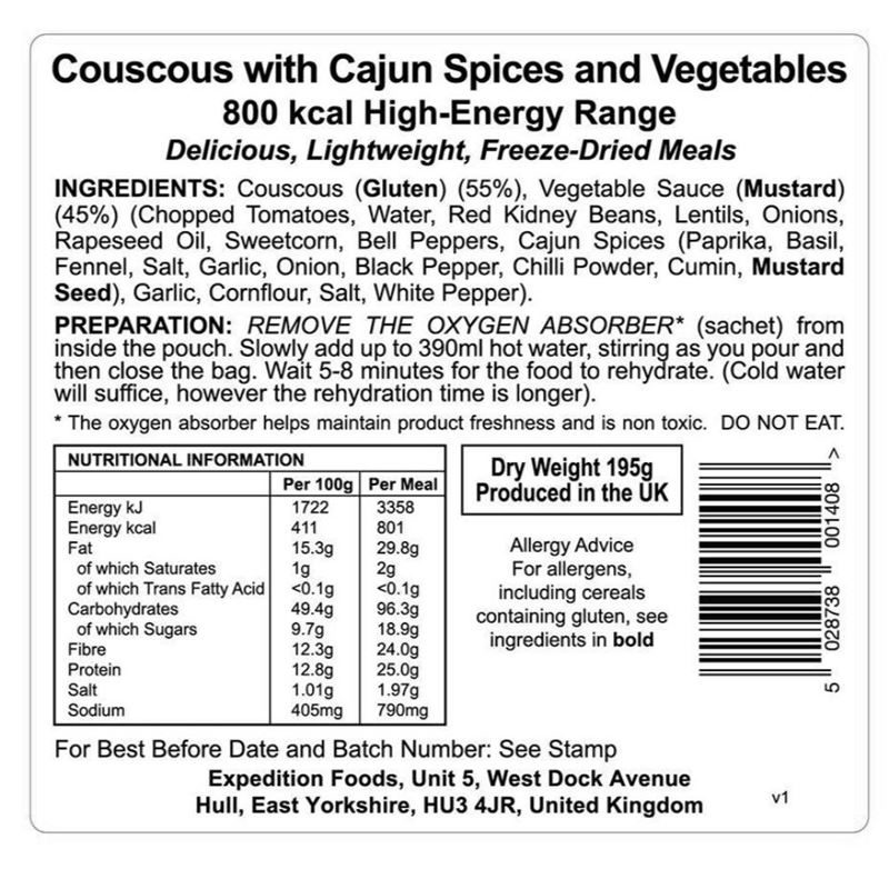 Expedition Foods Couscous with Cajun Spices and Vegetables (Vegan, 800kcal)