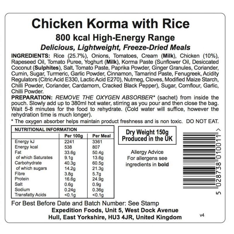 Expedition Foods Chicken Korma with Rice (Gluten Free, 800kcal)