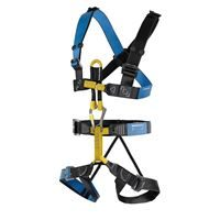 DMM Chest Harness Slidelock Blue/Anthracite teamed up with a DMM Brenin Harness via a DMM Bridge Sling